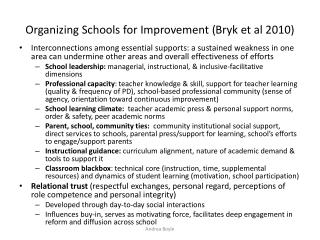 Organizing Schools for Improvement ( Bryk  et al 2010)