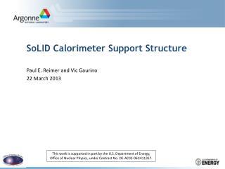 SoLID Calorimeter  S upport  S tructure