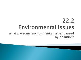 22.2 Environmental Issues