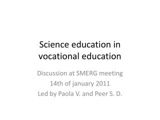 Science  education  in  vocational education