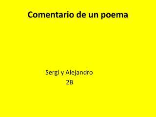 Comentario  de un poema