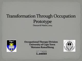 Transformation Through Occupation Prototype Duncan & Watson, 2004