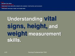 Understanding  vital signs, height, and  weight  measurement skills.