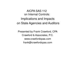 AICPA SAS 112  on Internal Controls: