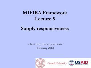MIFIRA  Framework Lecture 5 Supply  responsiveness