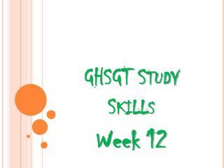 GHSGT Study Skills