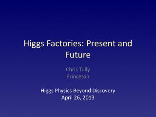 Higgs Factories: Present and Future