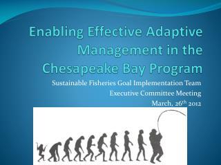 Enabling Effective Adaptive Management in the Chesapeake Bay Program