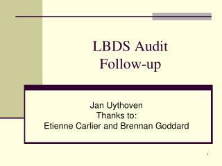 LBDS Audit Follow-up