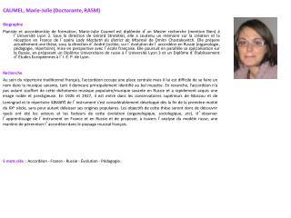 CAUMEL, Marie-Julie (Doctorante, RASM) Biographie