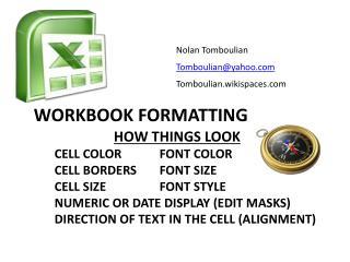 Workbook Formatting