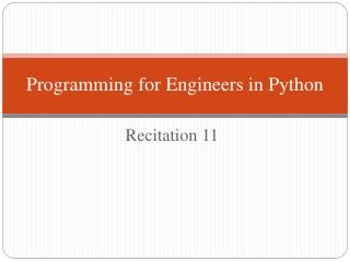 Programming for Engineers in Python