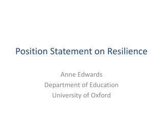 Position Statement on Resilience