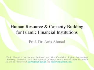 Human Resource  Capacity Building for Islamic Financial Institutions