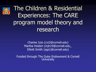 The Children & Residential Experiences: The CARE program model theory and research