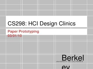 CS298: HCI Design Clinics