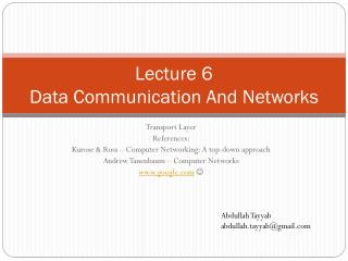 Lecture 6 Data Communication And Networks