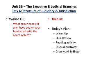 Unit 3B – The Executive & Judicial Branches Day 6: Structure of Judiciary & Jurisdiction