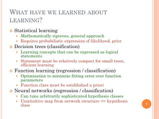 What have we learned about learning?