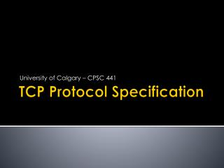 TCP Protocol  Specification