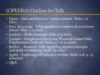(OPEERA) Outline for Talk
