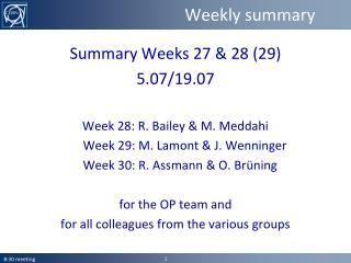 Weekly summary