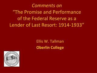 Ellis W. Tallman Oberlin College
