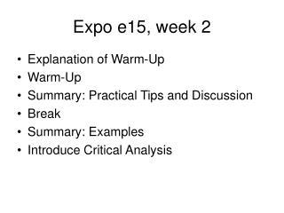 Expo e15, week 2
