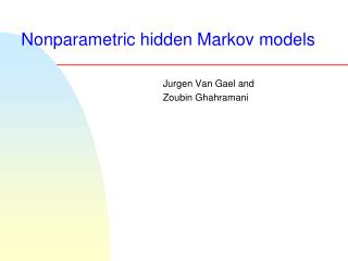 Nonparametric hidden Markov models