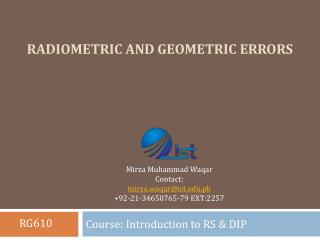 Radiometric and Geometric Errors