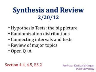 Synthesis and Review  2/20/12