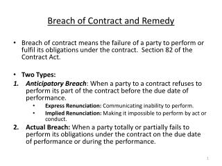 Breach of Contract and Remedy