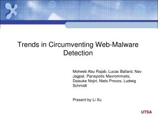 Trends in Circumventing Web-Malware Detection