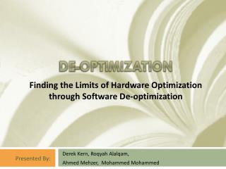De-optimization