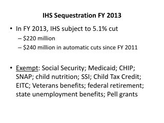 IHS Sequestration FY 2013