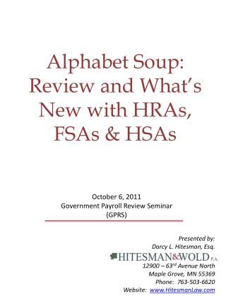 Alphabet Soup:  Review and What's New with HRAs, FSAs & HSAs