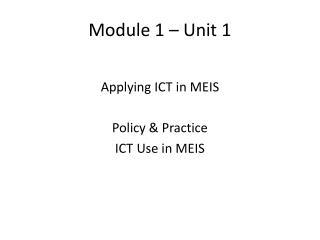 Module 1 – Unit 1