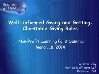 Well-Informed Giving and Getting: Charitable Giving Rules