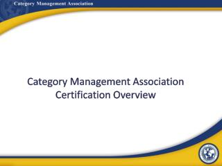 Category Management Association Certification Overview