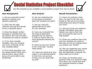 Social Statistics Project Checklist