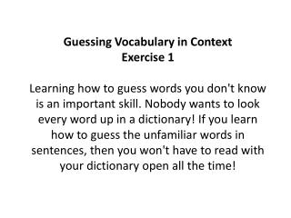HOW TO GUESS WORDS IN CONTEXT