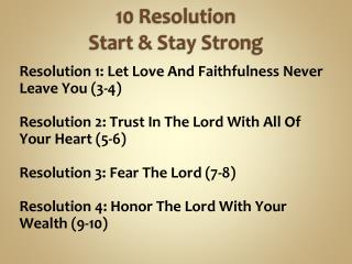 10  Resolution Start & Stay  Strong
