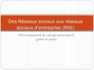 Des Réseaux sociaux aux réseaux sociaux d'entreprise (RSE)