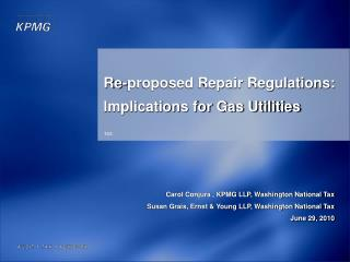 Re-proposed Repair Regulations: Implications for Gas Utilities