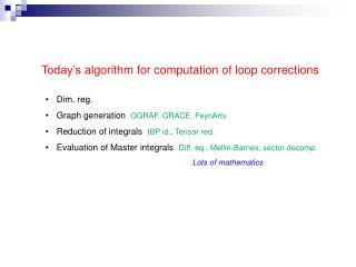 Today's  algorithm for computation  of loop corrections