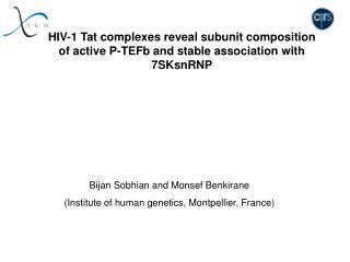 Bijan Sobhian and Monsef Benkirane (Institute of human genetics, Montpellier, France)