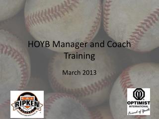 HOYB Manager and Coach Training