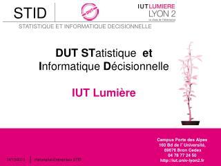 DUT  ST atistique et I nformatique D écisionnelle IUT Lumière