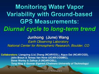 Monitoring Water Vapor Variability with Ground-based  GPS  Measurements: