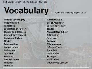 Vocabulary –  Define the following in your spiral